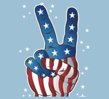 American Patriotic Victory Peace Hand Fingers Sign One Piece - Short Sleeve