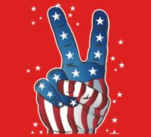 American Patriotic Victory Peace Hand Fingers Sign Kids Tee