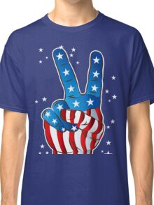 American Patriotic Victory Peace Hand Fingers Sign Classic T-Shirt