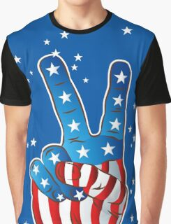 American Patriotic Victory Peace Hand Fingers Sign Graphic T-Shirt