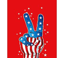 American Patriotic Victory Peace Hand Fingers Sign Photographic Print