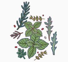 herbs pattern One Piece - Short Sleeve