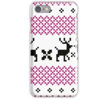 Cute reindeer pattern - black and pink iPhone Case/Skin