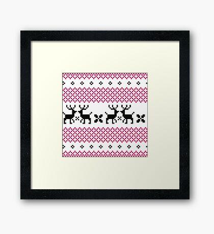 Cute reindeer pattern - black and pink Framed Print