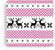 Cute reindeer pattern - black and pink Canvas Print