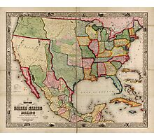 Map of the United States and Mexico (1847) Photographic Print