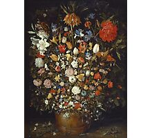 Jan Brueghel The Elder - Flowers In A Wooden Vessel 1606. Vintage Baroque oil famous painting : still life with flowers, flowers, peonies, roses, tulips, floral flora, wonderful flower. Photographic Print