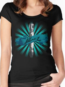 Sonic Screwdriver Allons-y Sun Burst -Doctor Who Women's Fitted Scoop T-Shirt