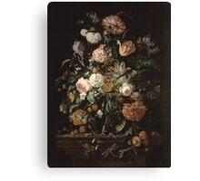 Jan Davidsz De Heem - Still Life With Flowers In A Glass Bowl. Still life with flowers: flowers, blossom, nature, botanical, floral flora, wonderful flower, plants, cute plant for interior, garden Canvas Print