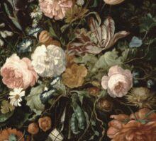 Jan Davidsz De Heem - Still Life With Flowers In A Glass Bowl. Still life with flowers: flowers, blossom, nature, botanical, floral flora, wonderful flower, plants, cute plant for interior, garden Sticker