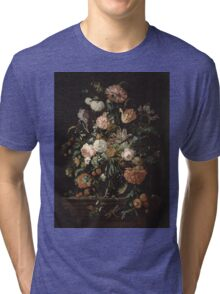 Jan Davidsz De Heem - Still Life With Flowers In A Glass Bowl. Still life with flowers: flowers, blossom, nature, botanical, floral flora, wonderful flower, plants, cute plant for interior, garden Tri-blend T-Shirt