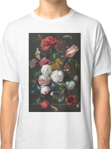 Jan Davidsz De Heem - Still Life With Flowers In A Glass Vase. Still life with fruits and vegetables: fruit, vegetable, grapes, tasty, gastronomy food, flowers, dish, cooking, kitchen, vase Classic T-Shirt