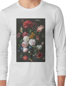 Jan Davidsz De Heem - Still Life With Flowers In A Glass Vase. Still life with fruits and vegetables: fruit, vegetable, grapes, tasty, gastronomy food, flowers, dish, cooking, kitchen, vase Long Sleeve T-Shirt