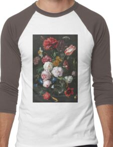 Jan Davidsz De Heem - Still Life With Flowers In A Glass Vase. Still life with fruits and vegetables: fruit, vegetable, grapes, tasty, gastronomy food, flowers, dish, cooking, kitchen, vase Men's Baseball ¾ T-Shirt