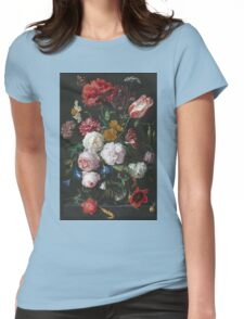 Jan Davidsz De Heem - Still Life With Flowers In A Glass Vase. Still life with fruits and vegetables: fruit, vegetable, grapes, tasty, gastronomy food, flowers, dish, cooking, kitchen, vase Womens Fitted T-Shirt