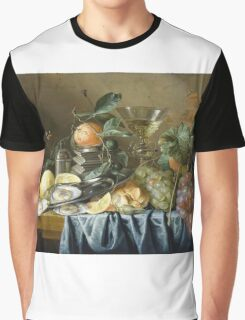 Jan Davidsz De Heem - Still Life With Oysters And Grapes. Still life with fruits and vegetables: fruit, vegetable, grapes, tasty, gastronomy food, flowers, dish, cooking, kitchen, vase Graphic T-Shirt