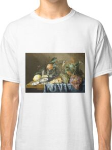 Jan Davidsz De Heem - Still Life With Oysters And Grapes. Still life with fruits and vegetables: fruit, vegetable, grapes, tasty, gastronomy food, flowers, dish, cooking, kitchen, vase Classic T-Shirt