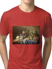 Jan Davidsz De Heem - Still Life With Oysters And Grapes. Still life with fruits and vegetables: fruit, vegetable, grapes, tasty, gastronomy food, flowers, dish, cooking, kitchen, vase Tri-blend T-Shirt