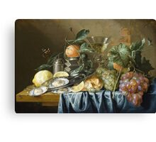 Jan Davidsz De Heem - Still Life With Oysters And Grapes. Still life with fruits and vegetables: fruit, vegetable, grapes, tasty, gastronomy food, flowers, dish, cooking, kitchen, vase Canvas Print