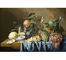 Jan Davidsz De Heem - Still Life With Oysters And Grapes. Still life with fruits and vegetables: fruit, vegetable, grapes, tasty, gastronomy food, flowers, dish, cooking, kitchen, vase Photographic Print