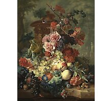 Jan Van Huysum - Fruit Piece. Still life with flowers: flowers, blossom, nature, botanical, floral flora, wonderful flower, plants, cute plant for kitchen interior, garden, vase Photographic Print
