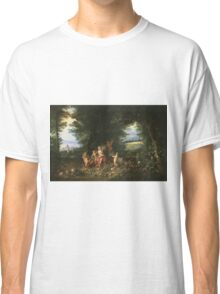 Jan Brueghel The Elder - Landscape With Ceres (Allegory Of Earth) 1630. Vintage Baroque oil famous painting : goddess Ceres, garden, floral flora, still life with fruits and vegetables, fruit . Classic T-Shirt