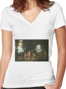 Jan Brueghel The Elder - Landscape With Ceres (Allegory Of Earth) 1630. Vintage Baroque oil famous painting : goddess Ceres, garden, floral flora, still life with fruits and vegetables, fruit . Women's Fitted V-Neck T-Shirt