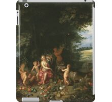 Jan Brueghel The Elder - Landscape With Ceres (Allegory Of Earth) 1630. Vintage Baroque oil famous painting : goddess Ceres, garden, floral flora, still life with fruits and vegetables, fruit . iPad Case/Skin