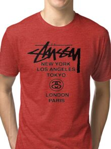 BEST STUSSY World Tour Warp Crew logo Tri-blend T-Shirt