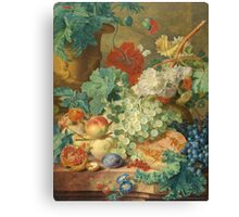 Jan Van Huysum - Still Life With Flowers And Fruit. Still life with fruits and vegetables: fruit, vegetable, grapes, tasty, gastronomy food, flowers, dish, cooking, kitchen, vase Canvas Print