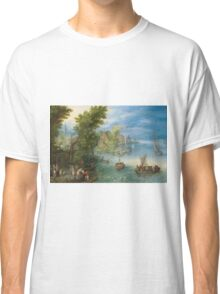 Jan Brueghel The Elder - River Landscape 1607. River landscape: trees, river, beach, bridge, riverside, waves and beach, marine naval navy, yachts and ships, sun and clouds, nautical panorama, lake Classic T-Shirt
