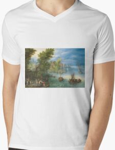 Jan Brueghel The Elder - River Landscape 1607. River landscape: trees, river, beach, bridge, riverside, waves and beach, marine naval navy, yachts and ships, sun and clouds, nautical panorama, lake Mens V-Neck T-Shirt