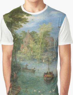 Jan Brueghel The Elder - River Landscape 1607. River landscape: trees, river, beach, bridge, riverside, waves and beach, marine naval navy, yachts and ships, sun and clouds, nautical panorama, lake Graphic T-Shirt