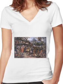 Jan Brueghel The Elder - Tentaciones De San Antonio Abad 1568. People portrait: party, woman and man, people, family, female and male, peasants, crowd, romance, women and men, city, home society Women's Fitted V-Neck T-Shirt