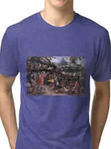Jan Brueghel The Elder - Tentaciones De San Antonio Abad 1568. People portrait: party, woman and man, people, family, female and male, peasants, crowd, romance, women and men, city, home society Tri-blend T-Shirt