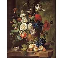 Jan Van Os - Flowers . Still life with flowers: still life with flowers, flowers, blossom, nature, botanical, floral flora, wonderful flower, plants, cute plant for kitchen interior, garden, vase Photographic Print