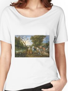 Jan Brueghel The Elder - The Entry Of The Animals Into Noah S Ark 1613. Animal portrait: cute cat, horse, race, man hobby, running, wild life, animal, racing mustang, hunt, cowboy, sport Women's Relaxed Fit T-Shirt