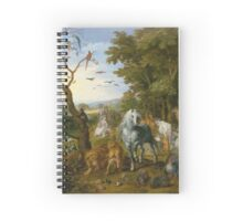 Jan Brueghel The Elder - The Entry Of The Animals Into Noah S Ark 1613. Animal portrait: cute cat, horse, race, man hobby, running, wild life, animal, racing mustang, hunt, cowboy, sport Spiral Notebook