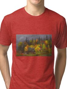 Jasper Francis Cropsey - Autumn Foliage. Forest view: forest view, trees, field, nature, botanical forestry, floral flora, wonderful flowers, plants, cute plant, garden, flowers Tri-blend T-Shirt