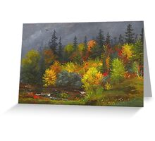 Jasper Francis Cropsey - Autumn Foliage. Forest view: forest view, trees, field, nature, botanical forestry, floral flora, wonderful flowers, plants, cute plant, garden, flowers Greeting Card
