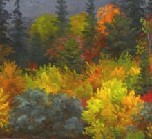 Jasper Francis Cropsey - Autumn Foliage. Forest view: forest view, trees, field, nature, botanical forestry, floral flora, wonderful flowers, plants, cute plant, garden, flowers Sticker