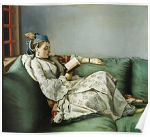 Jean Etienne Liotard - Portrait Of Maria Adelaide Of France In Turkish Style Clothes . Woman portrait: sensual woman, girly art, female style, pretty women, femine, beautiful dress, creativity, love Poster