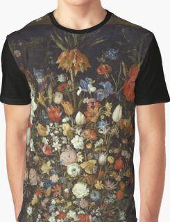 Jan Brueghel The Elder - Flowers In A Wooden Vessel 1606. Vintage Baroque oil famous painting : still life with flowers, flowers, peonies, roses, tulips, floral flora, wonderful flower. Graphic T-Shirt