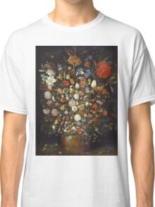 Jan Brueghel The Elder - Flowers In A Wooden Vessel 1606. Vintage Baroque oil famous painting : still life with flowers, flowers, peonies, roses, tulips, floral flora, wonderful flower. Classic T-Shirt