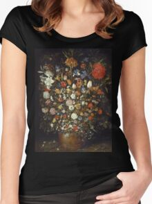 Jan Brueghel The Elder - Flowers In A Wooden Vessel 1606. Vintage Baroque oil famous painting : still life with flowers, flowers, peonies, roses, tulips, floral flora, wonderful flower. Women's Fitted Scoop T-Shirt