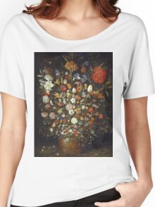Jan Brueghel The Elder - Flowers In A Wooden Vessel 1606. Vintage Baroque oil famous painting : still life with flowers, flowers, peonies, roses, tulips, floral flora, wonderful flower. Women's Relaxed Fit T-Shirt