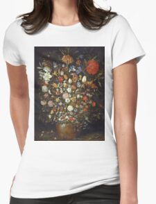 Jan Brueghel The Elder - Flowers In A Wooden Vessel 1606. Vintage Baroque oil famous painting : still life with flowers, flowers, peonies, roses, tulips, floral flora, wonderful flower. Womens Fitted T-Shirt