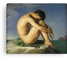 Jean Hippolyte Flandrin - Naked Young Man Sitting By The Sea. Man portrait: strong man, boy, male, beard, business suite, masculine, boyfriend, smile, manly, sexy men, mustache Canvas Print