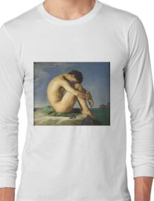Jean Hippolyte Flandrin - Naked Young Man Sitting By The Sea. Man portrait: strong man, boy, male, beard, business suite, masculine, boyfriend, smile, manly, sexy men, mustache Long Sleeve T-Shirt