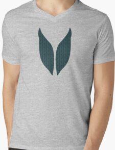 Dark Blue Stitches Mens V-Neck T-Shirt
